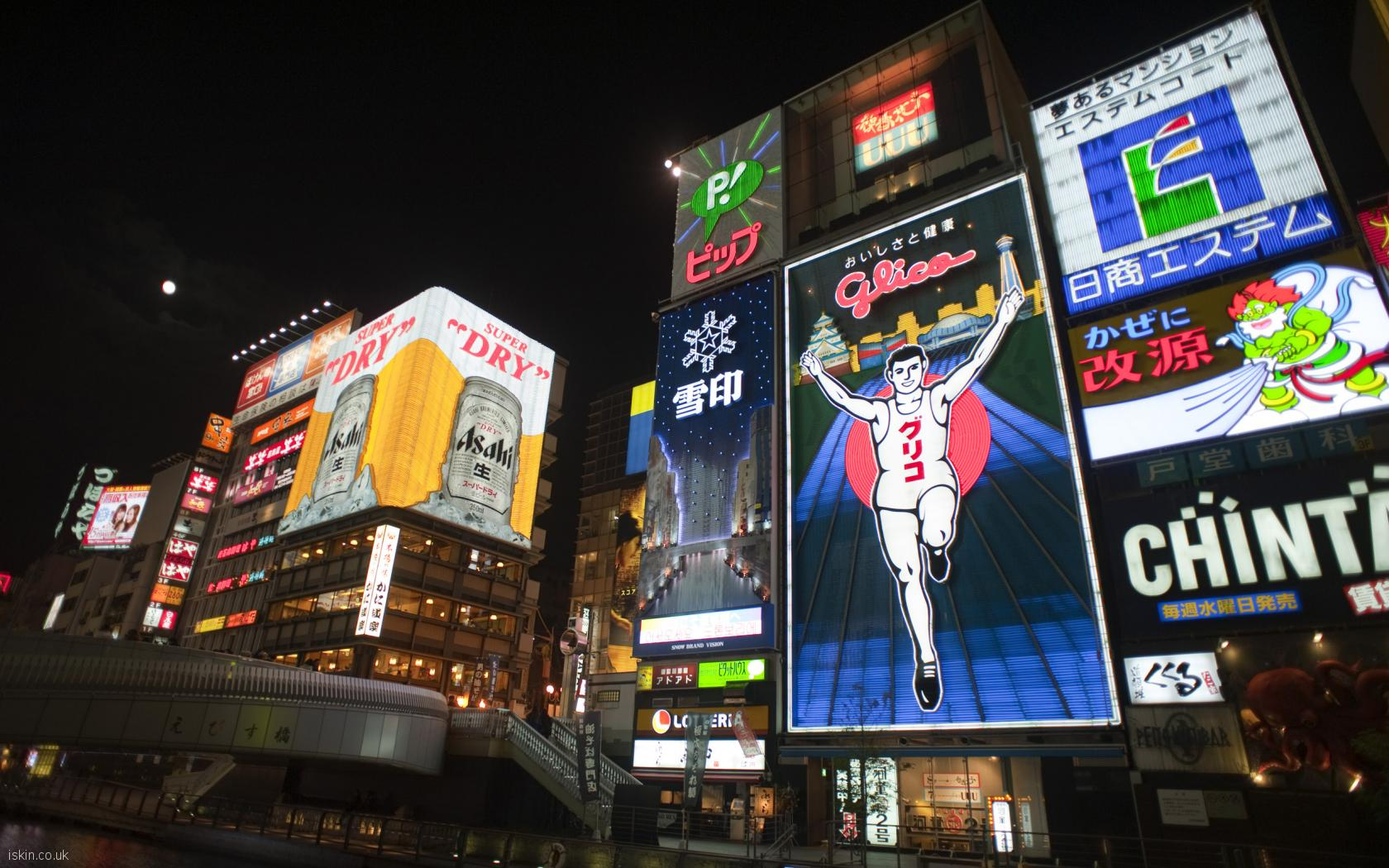 desktop image dotonbori neon lights