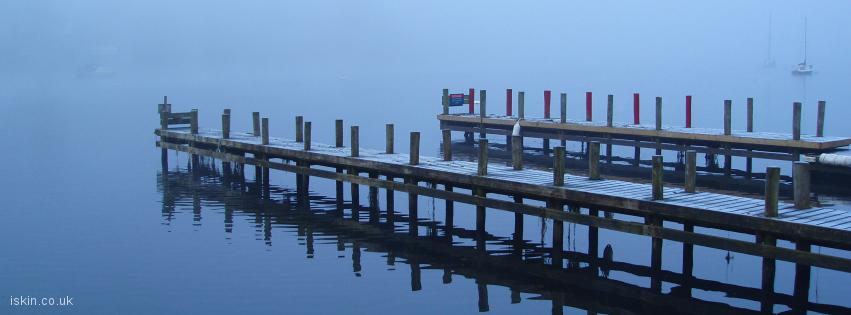 facebook header Misty Lake Reflection