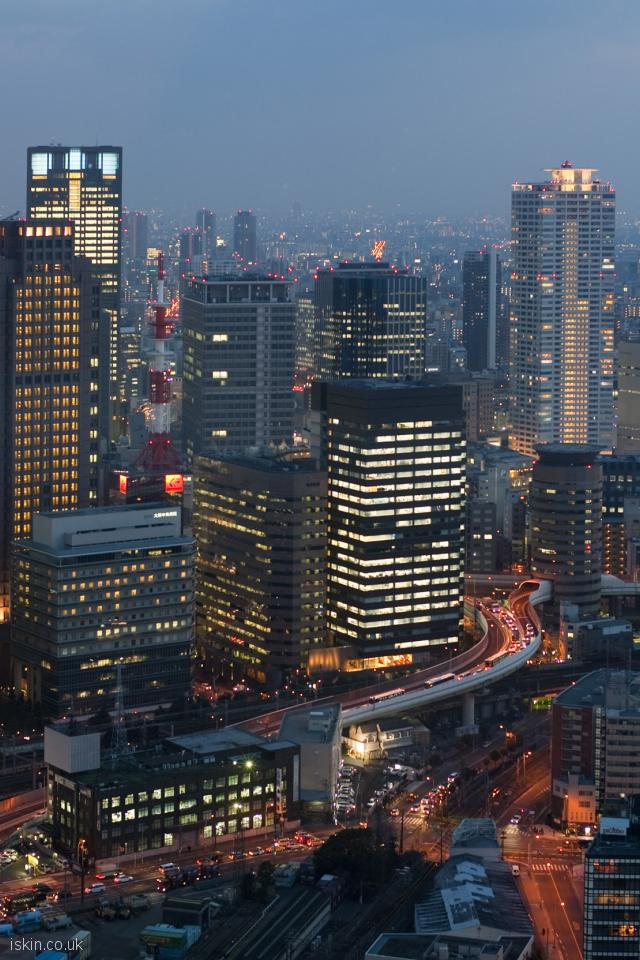 iphone 4 portrait wallpaper osaka skyline