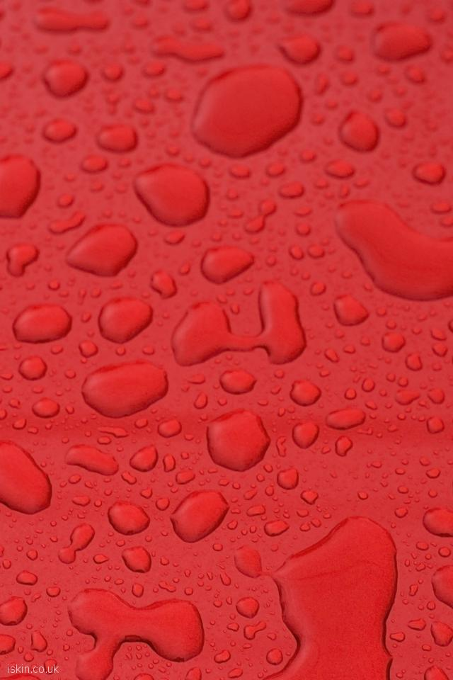 iphone 4 portrait wallpaper Waterdrops on Red