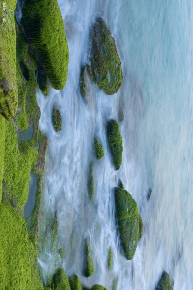 iphone 4 landscape wallpaper Ocean rocks abstract